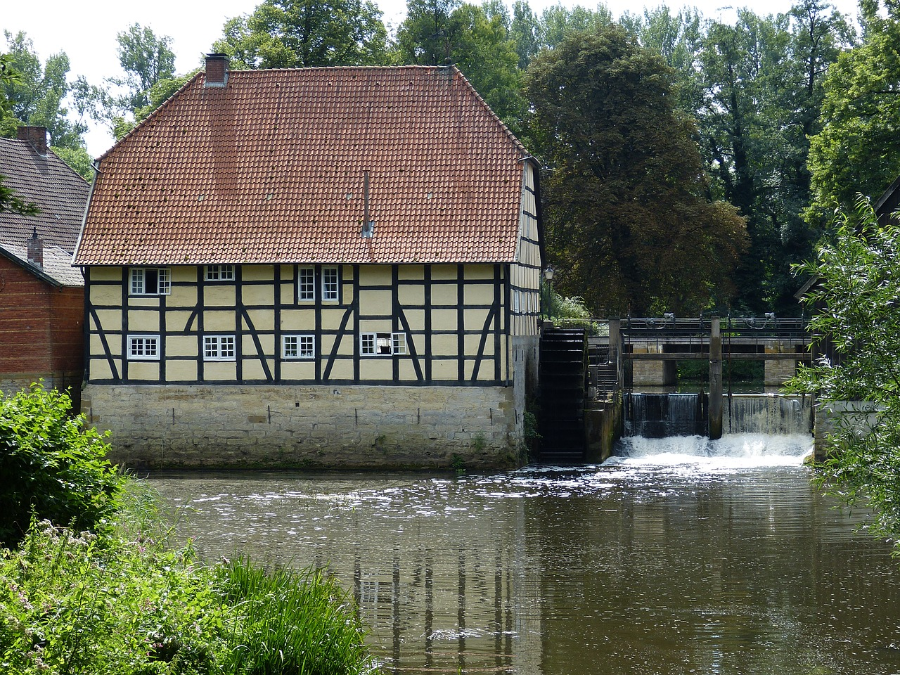 mill,water mill,waterwheel,mill wheel,water power,truss,energy,historically,weir,rheda,rheda-wiedenbrück,free pictures, free photos, free images, royalty free, free illustrations, public domain