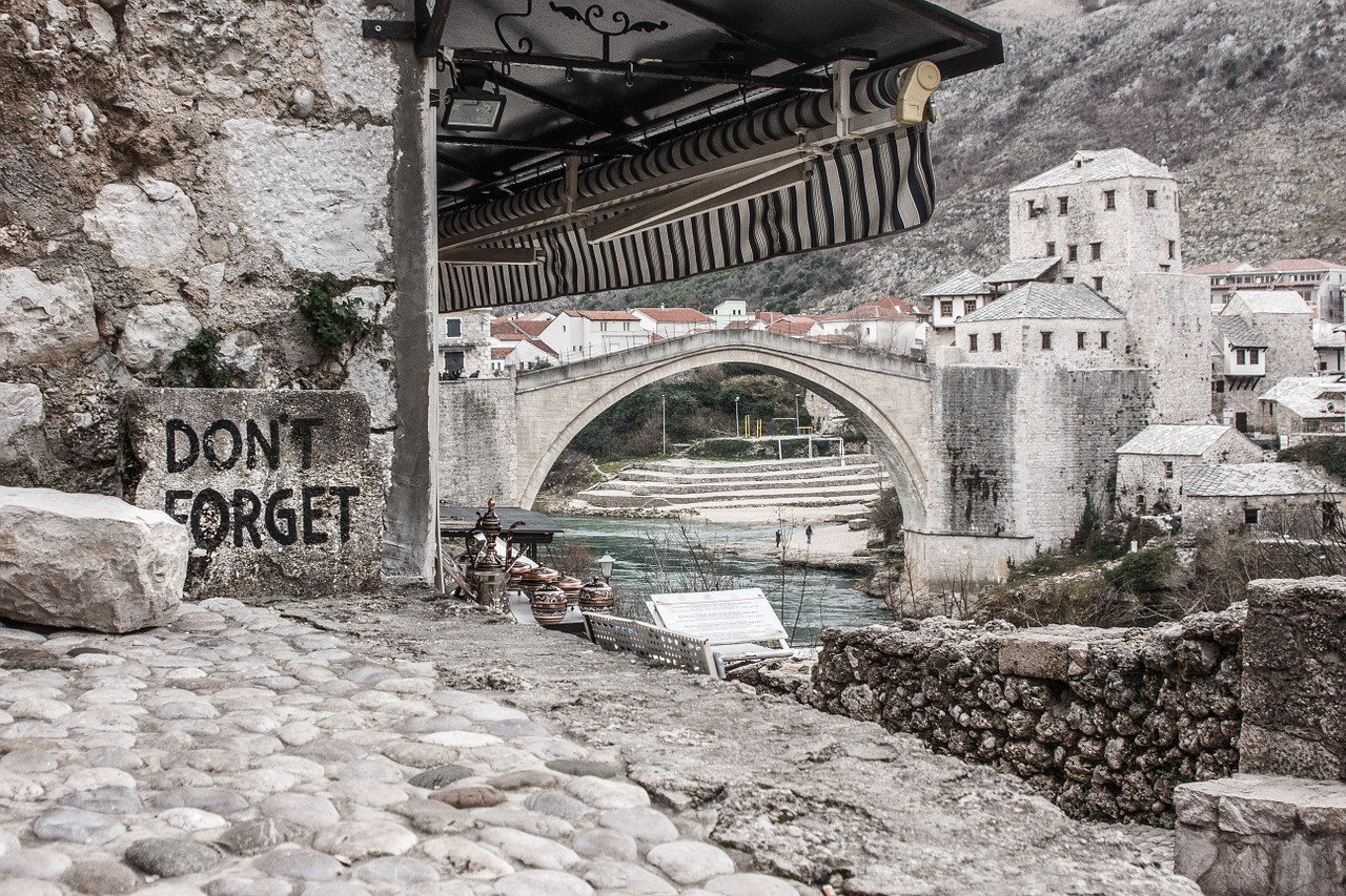 mostar bridge travel free photo