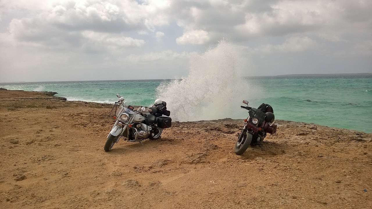 motorcycles sea wave free photo