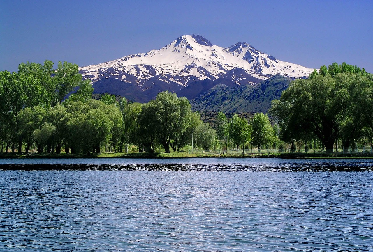 mount erciyes tree lake free photo
