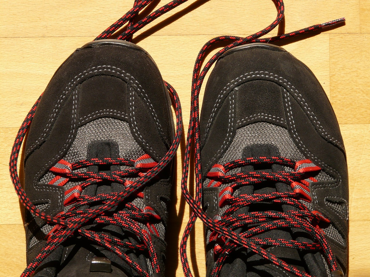mountaineering shoes hiking shoelaces free photo