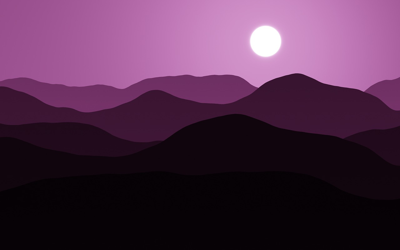 mountains moon purple free photo