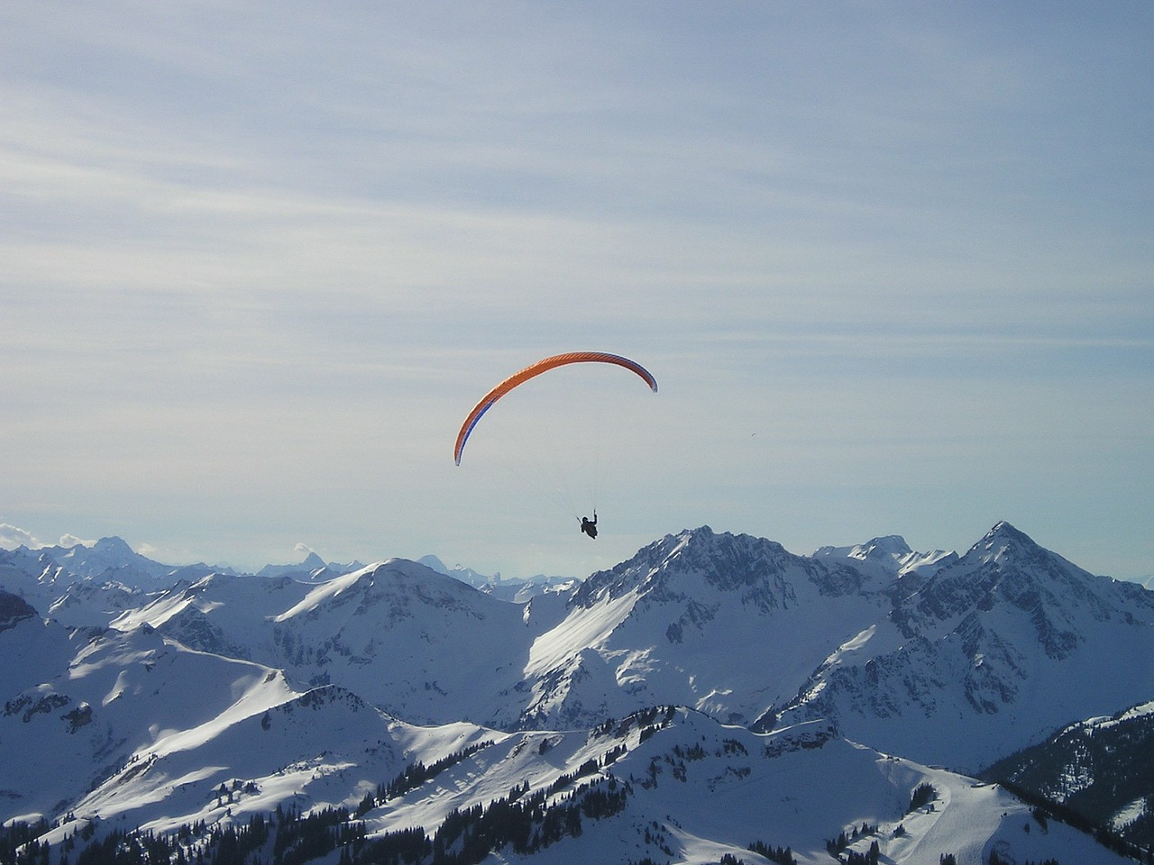 mountains paragliding fly free photo
