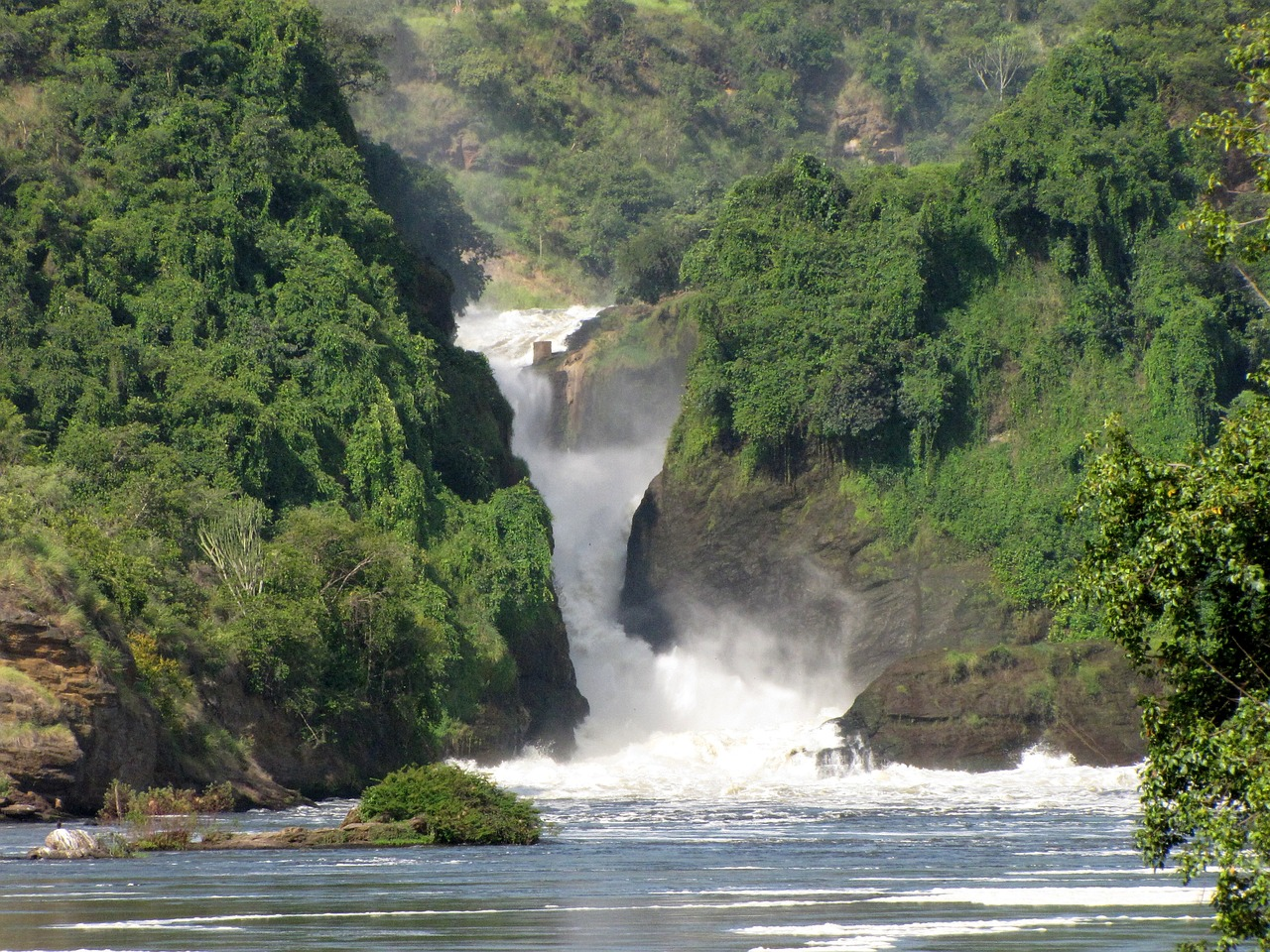 murchison falls waterfall uganda free photo