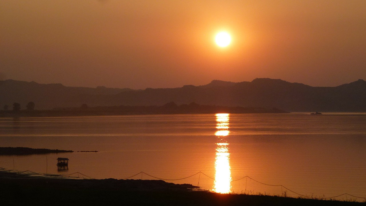 myanmar river sunset free photo