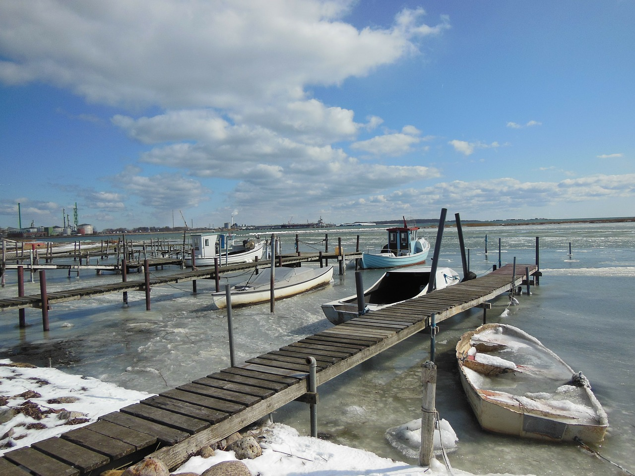 natural harbor jetty ice free photo