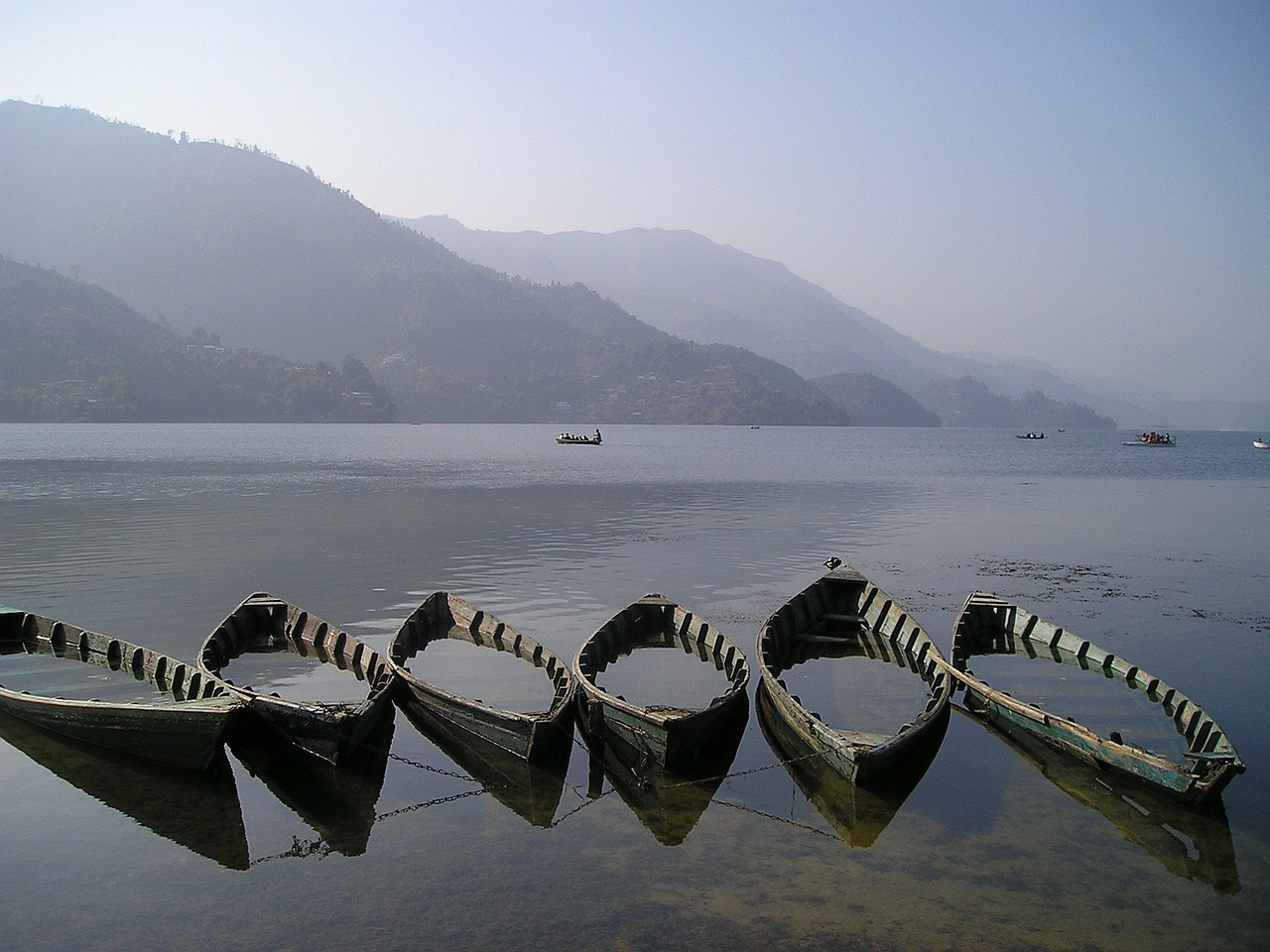 nepal boats lake free photo
