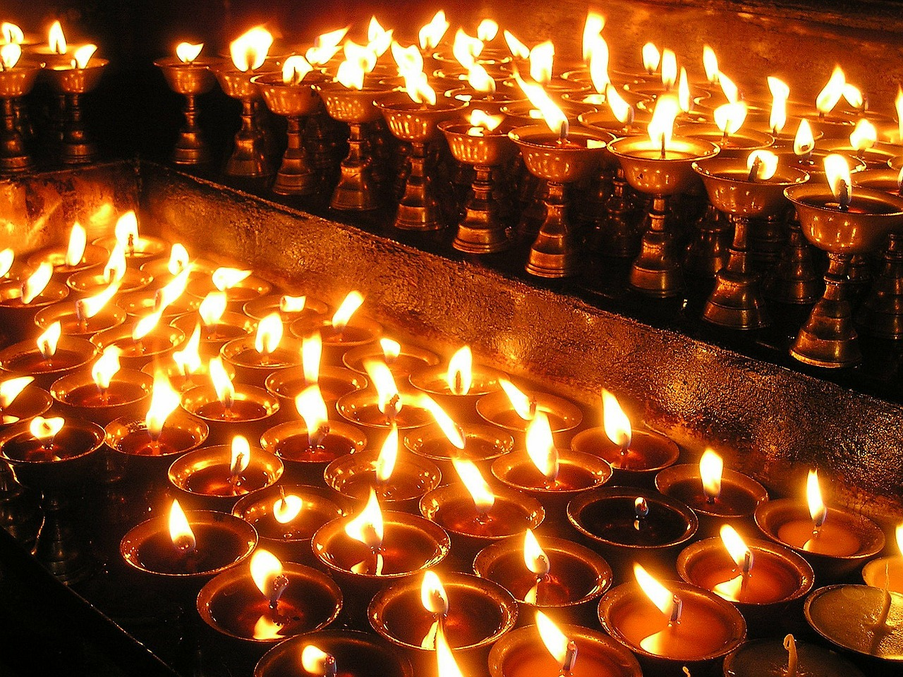 nepal candles prayer light free photo