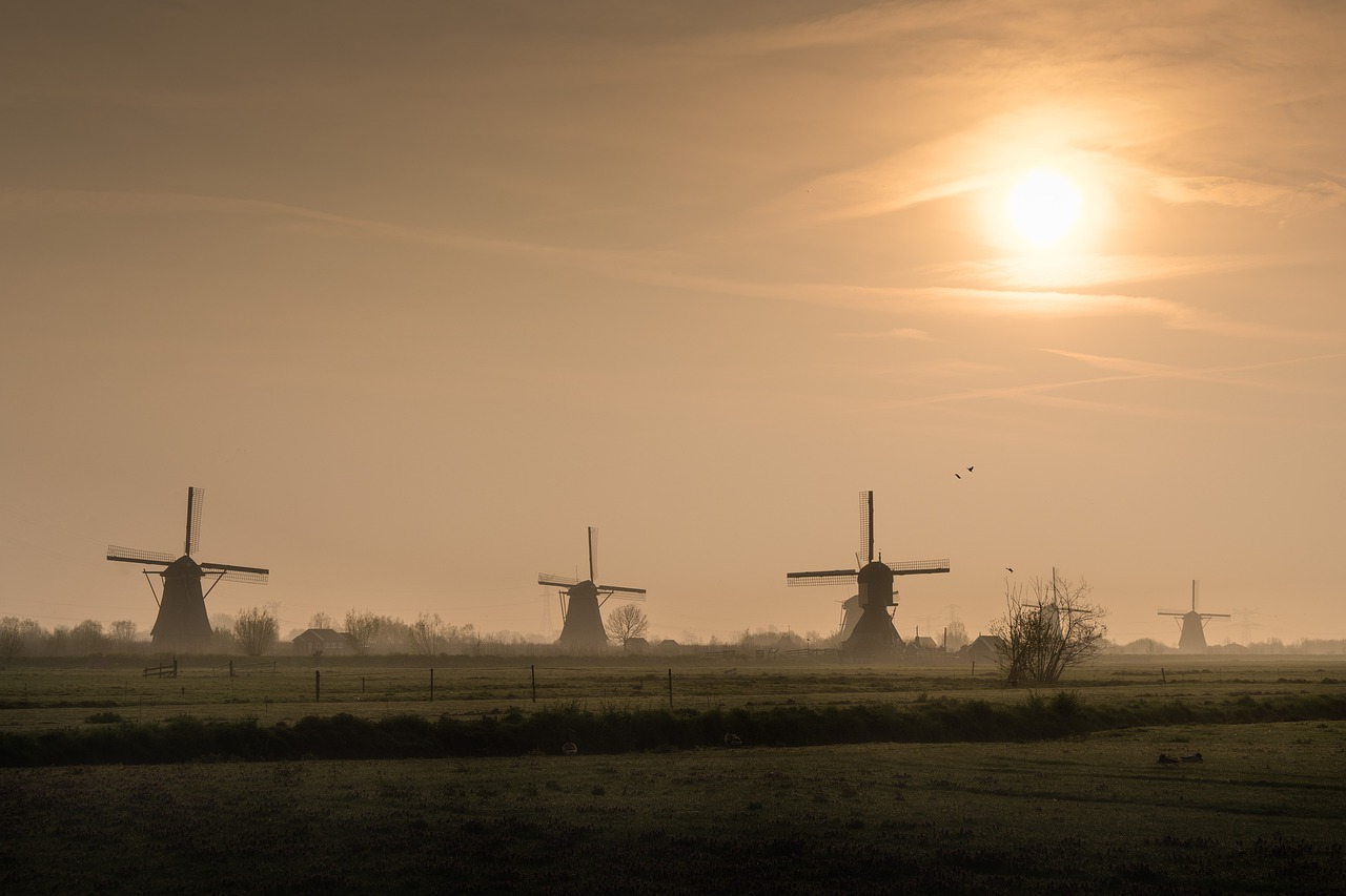 netherlands, kinderdijk, holland, mill, landscape, windmill, clouds, windmills, sky, sunrise, field,free pictures, free photos, free images, royalty free, free illustrations, public domain