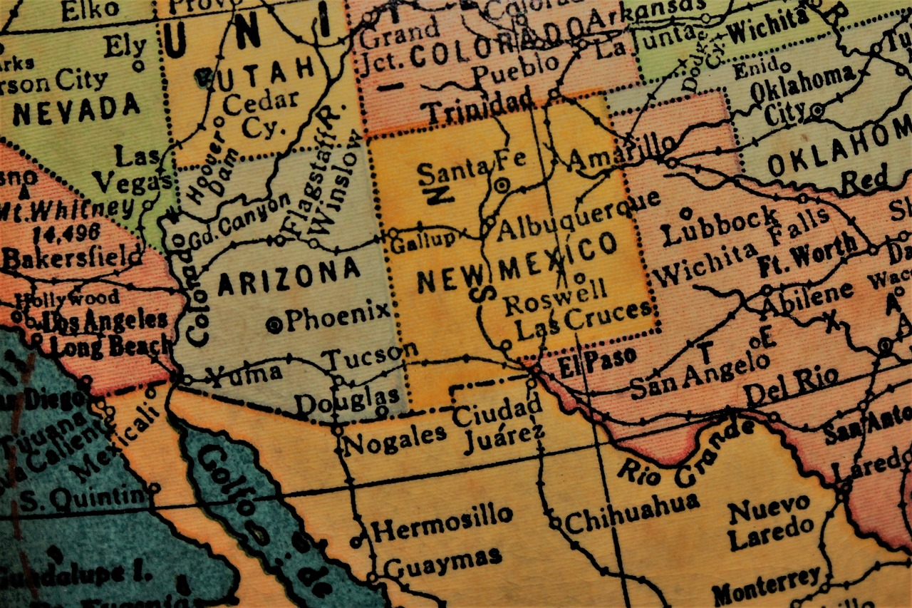 Map Of Arizona And New Mexico.New Mexico Southwest America Usa Southwest Map Free Photo From