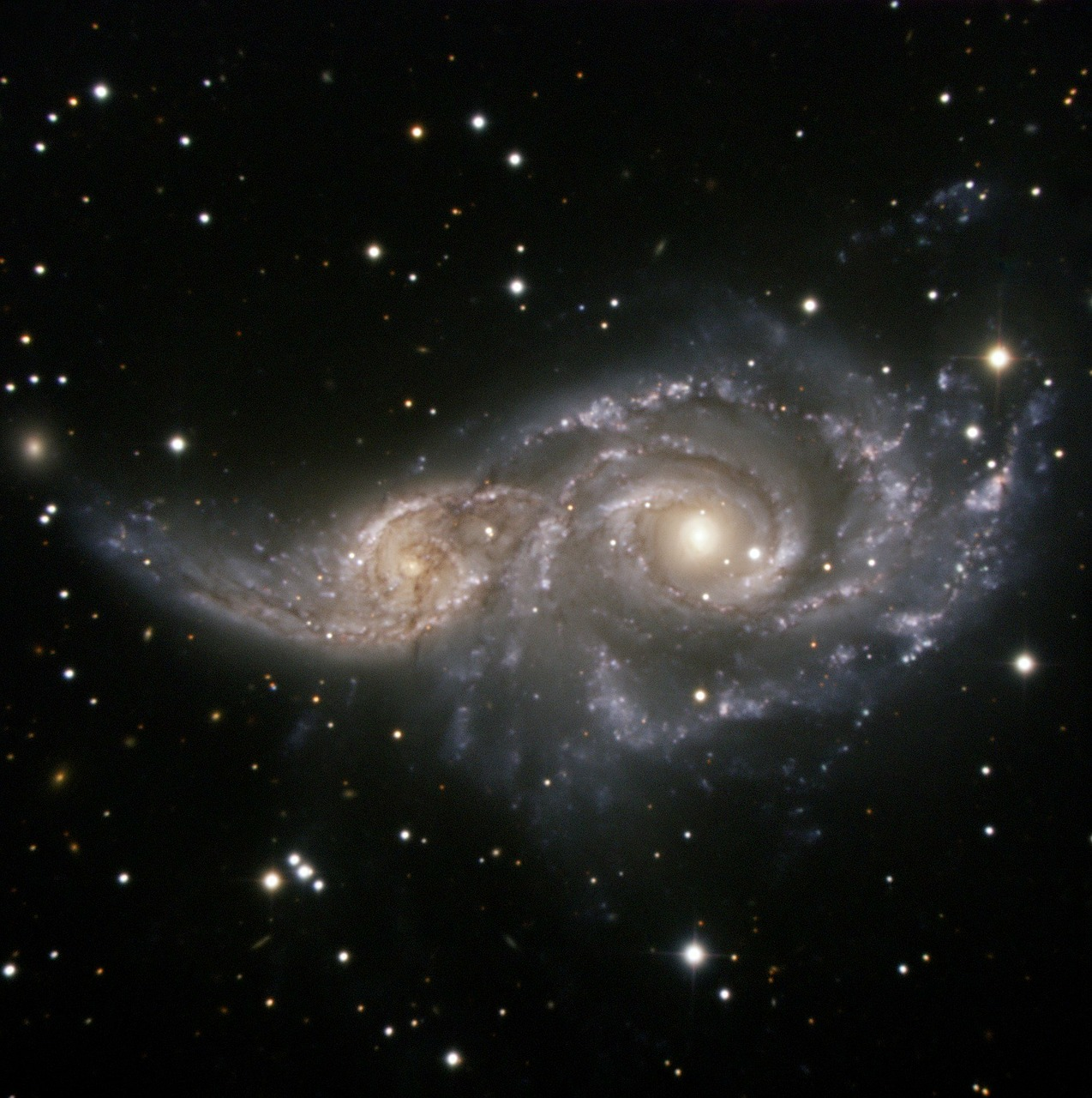 ngc 2207 spiral galaxy light year free photo
