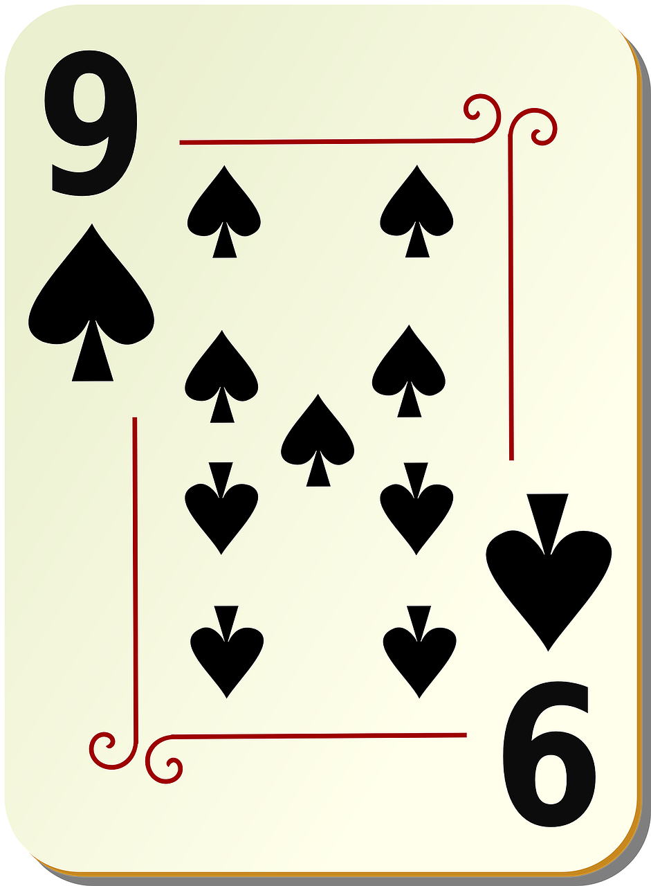 nine spades playing cards free photo