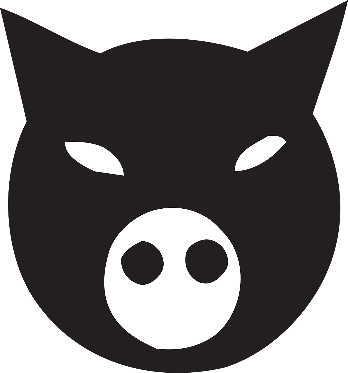 ninja,pig,animal,face,black,farm,free vector graphics,free pictures, free photos, free images, royalty free, free illustrations, public domain