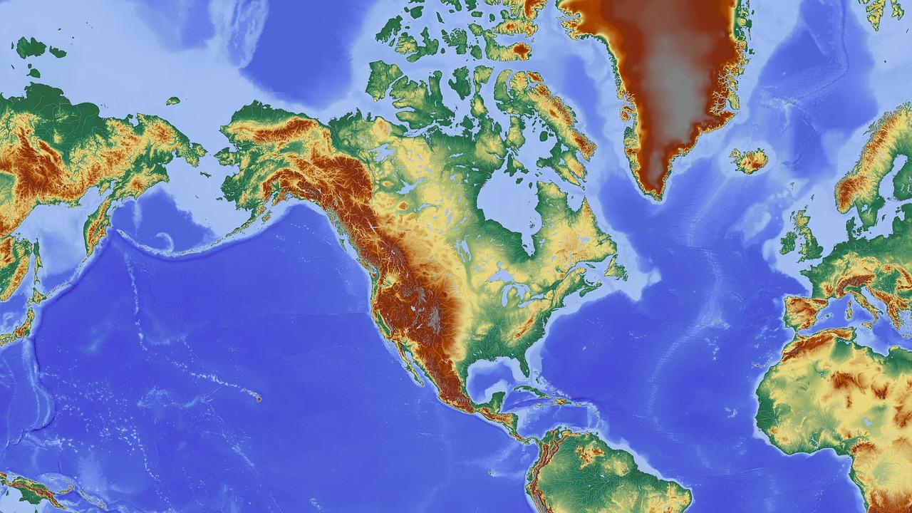 North america,america,map,relief map,elevation profile ...