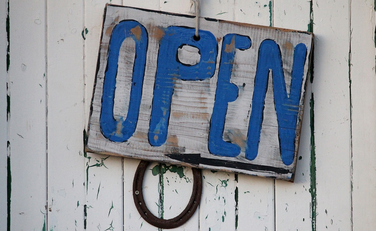 open sign beach free photo