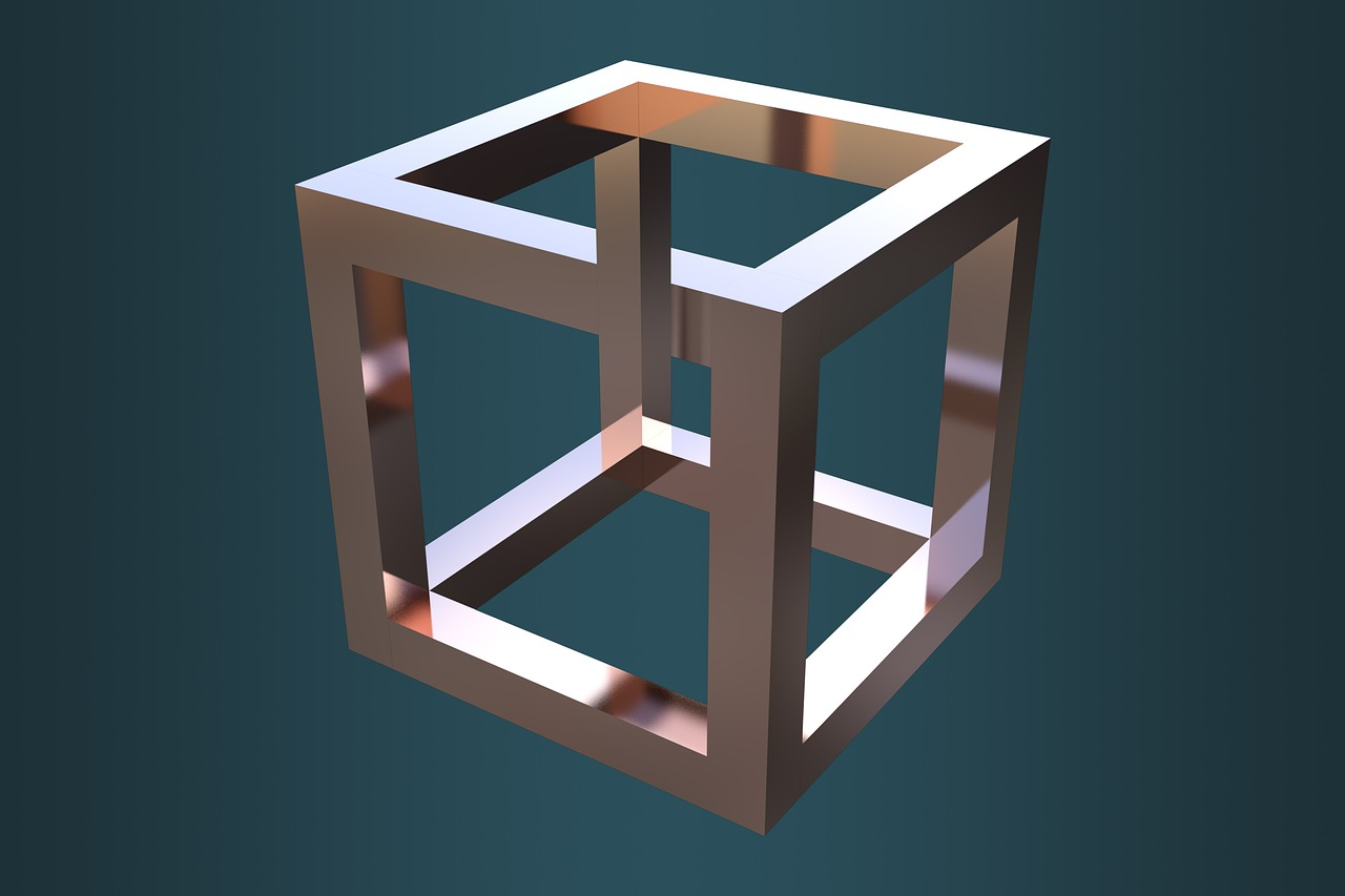 optical illusion  cube  escher free photo