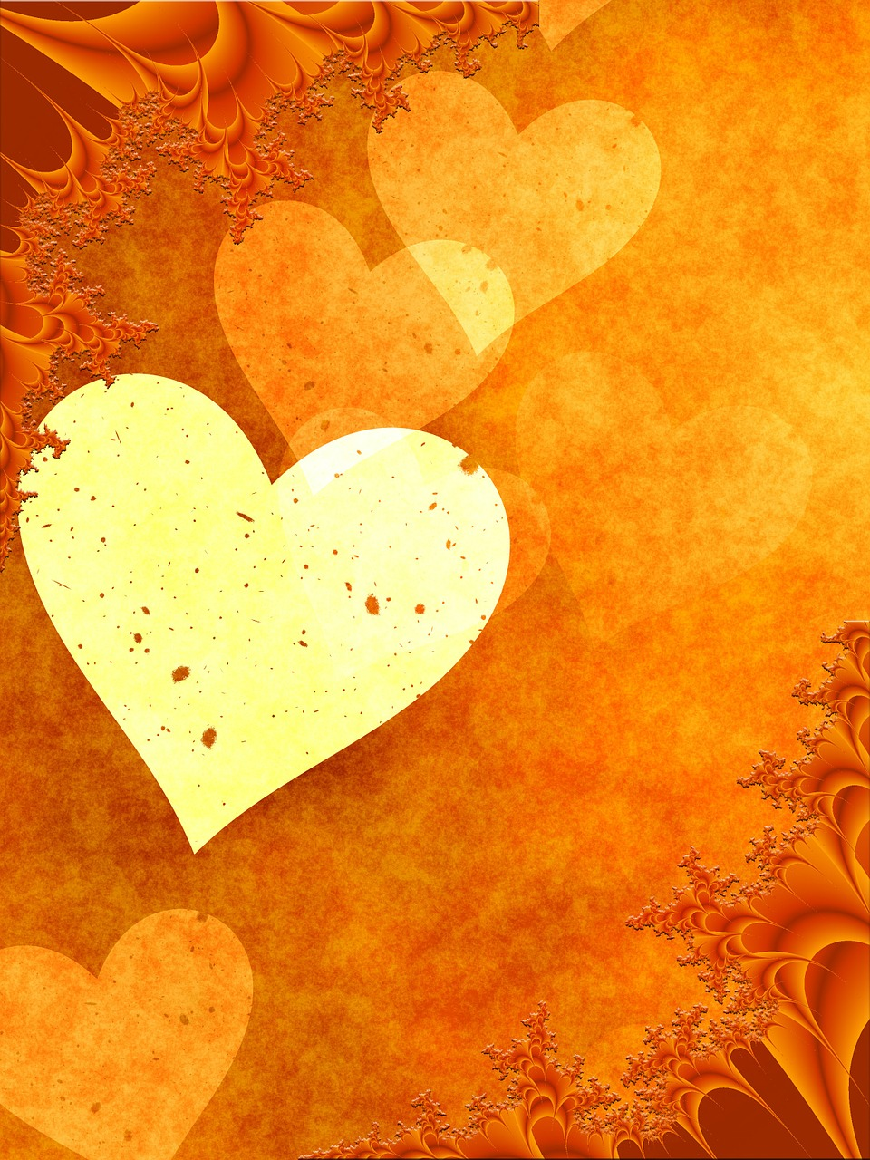 orange heart love free photo