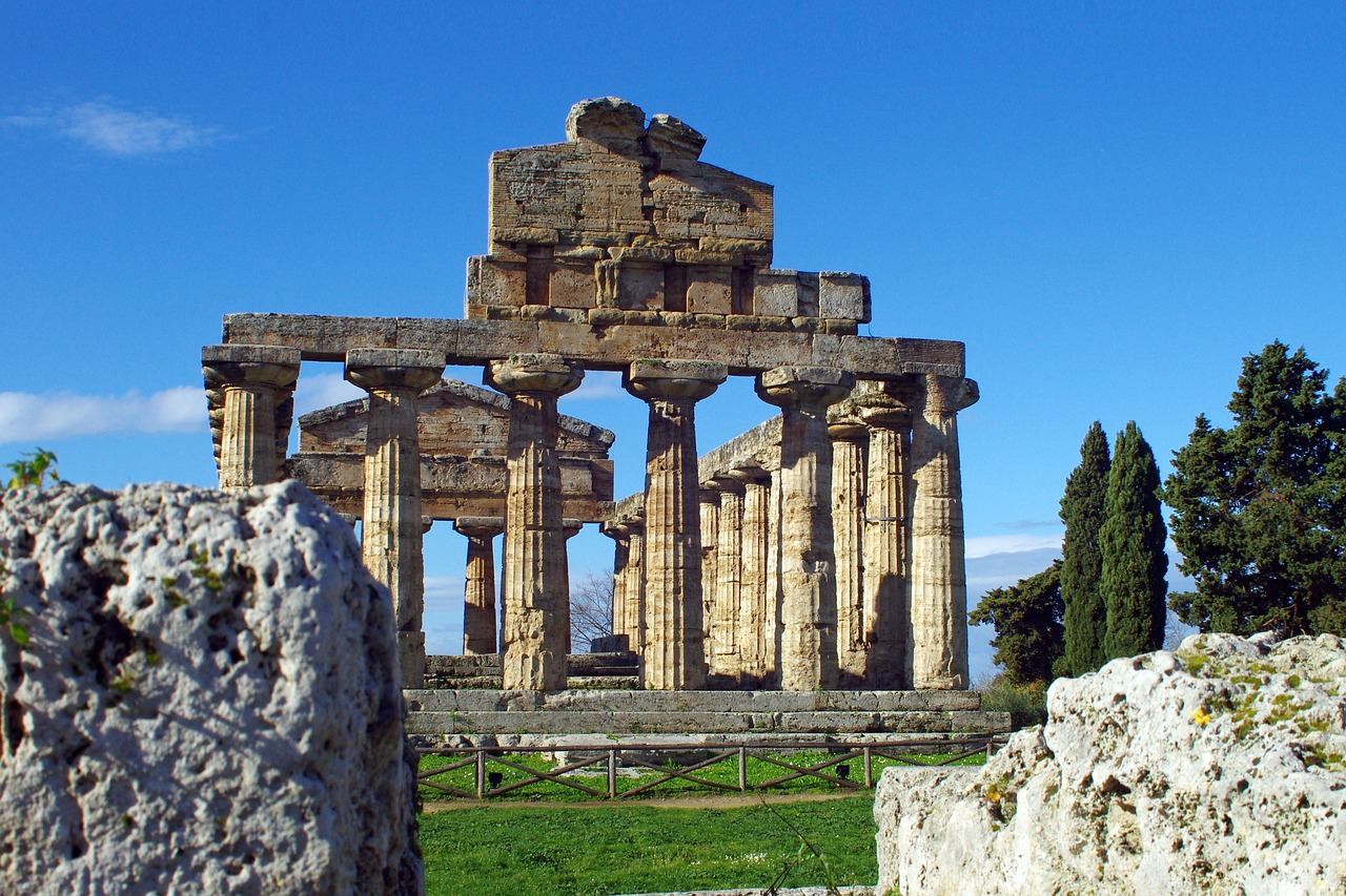 paestum,salerno,italy,temple of athena,magna grecia,ancient temple,greek temple,doric style,archaeology,free pictures, free photos, free images, royalty free, free illustrations, public domain