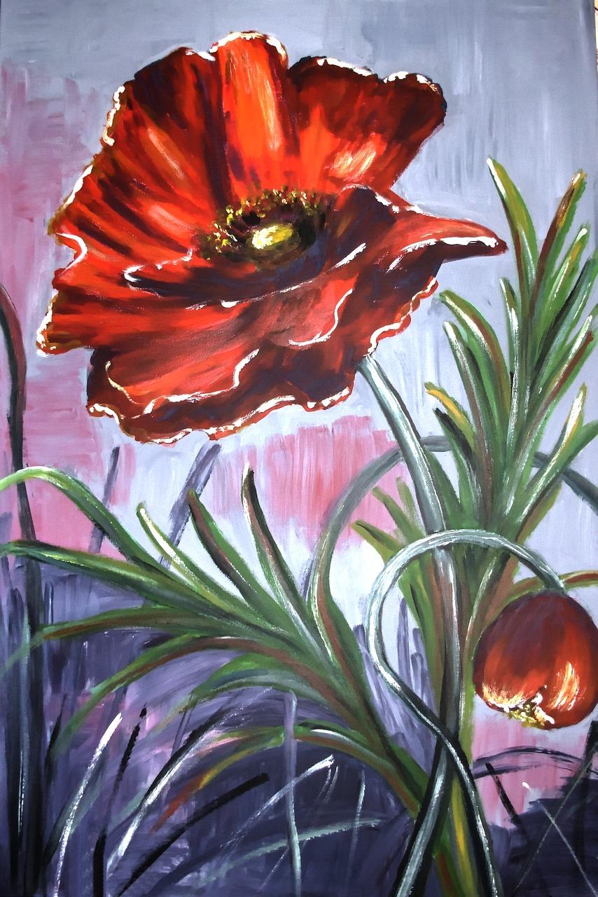 Painted Poppybrush Strokescanvasacrylic Paintfree Pictures