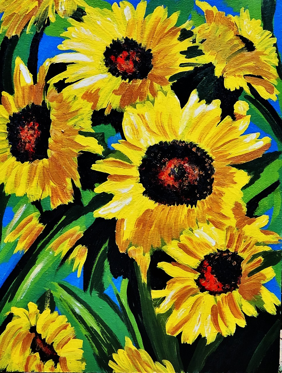 painted sunflowers acrylic paint canvas free photo