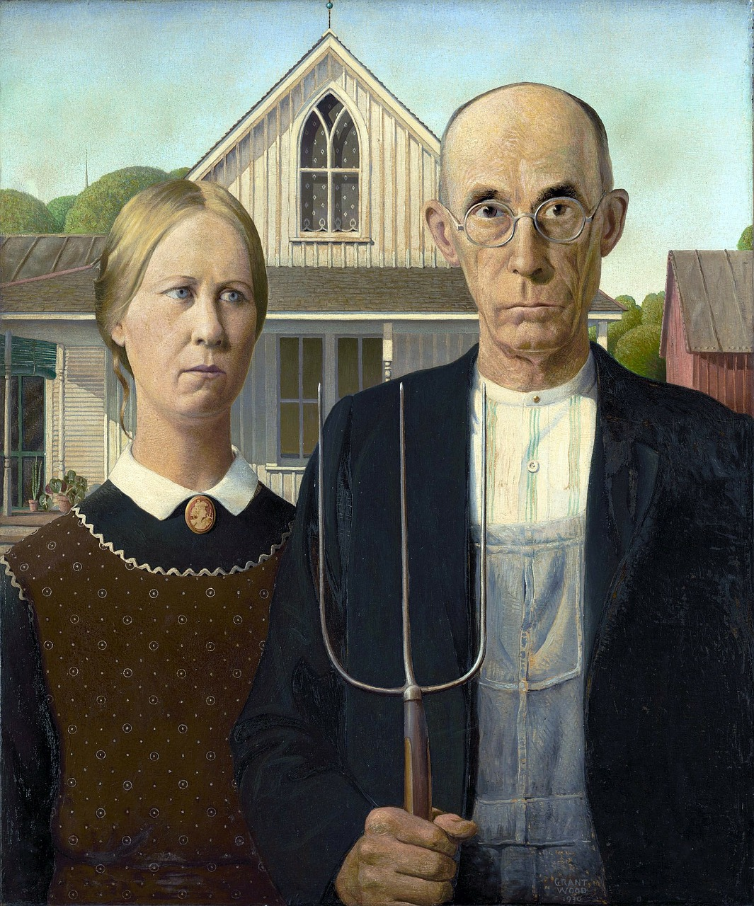 painting grant wood man free photo