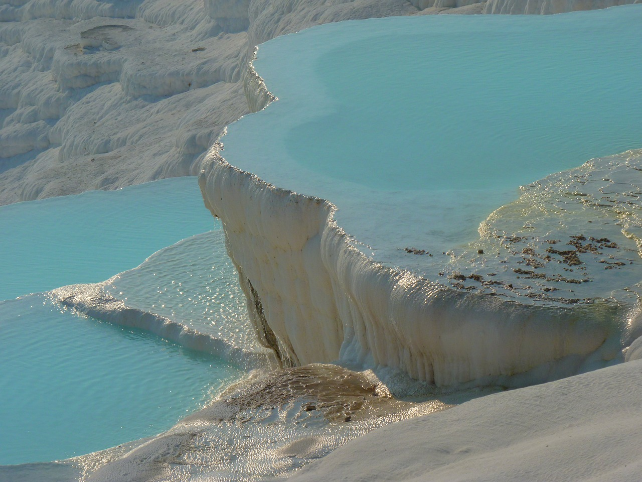 pamukkale turquoise lime sinter terrace free photo