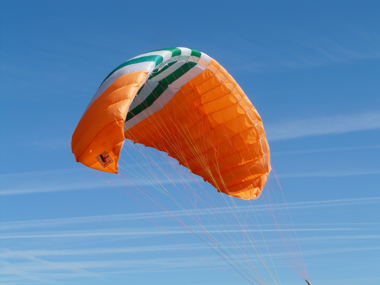paragliding orange blue free photo