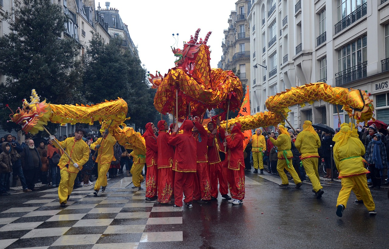 paris france chinese new year free photo