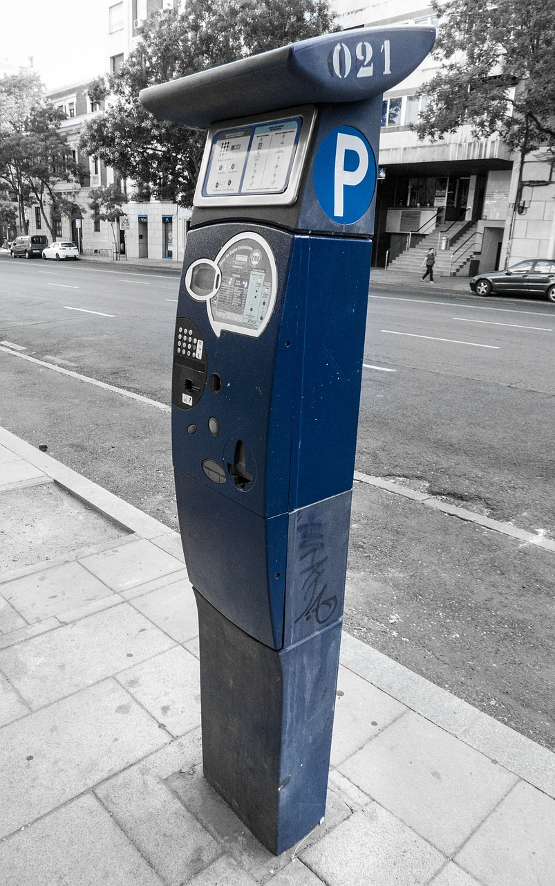 parking meter street asphalt free photo