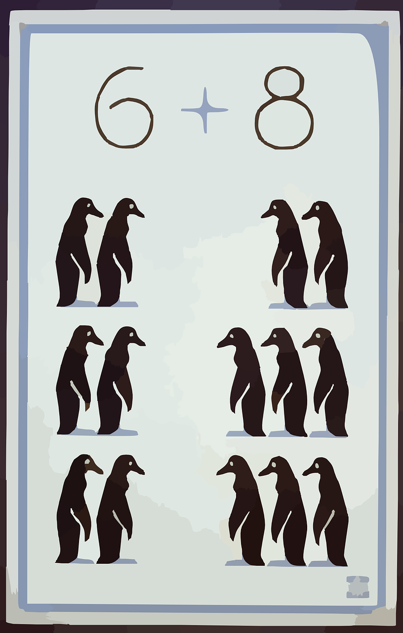 penguins,animal,arithmetic,addition,free vector graphics,free pictures, free photos, free images, royalty free, free illustrations, public domain