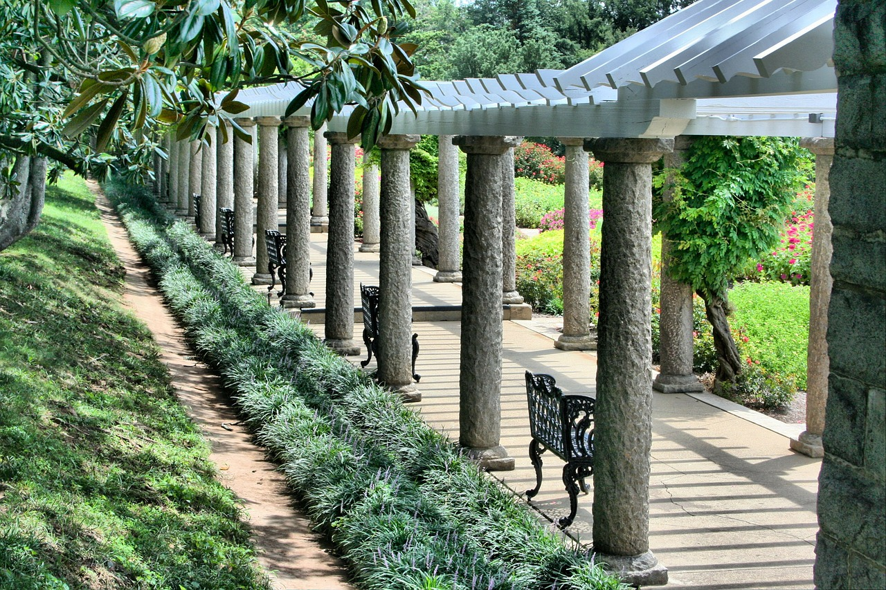pergola benches walkway free photo