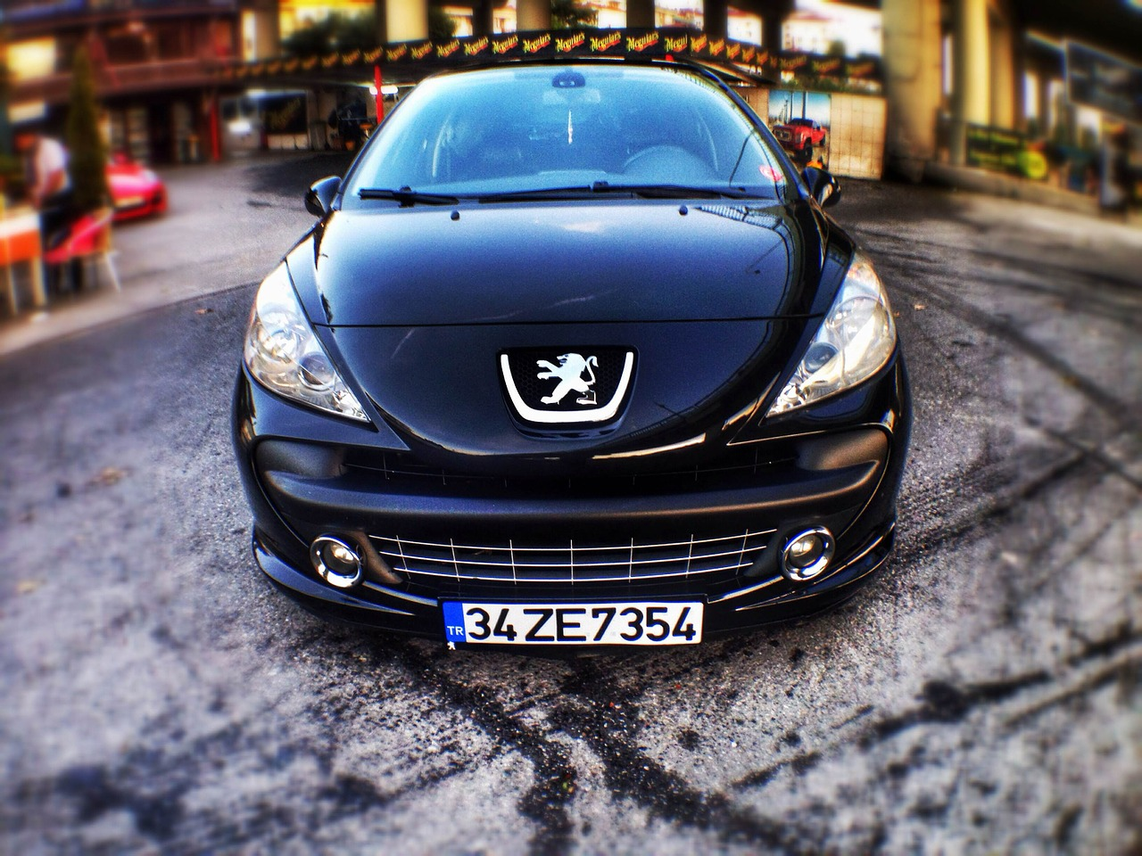 peugeot car black free photo