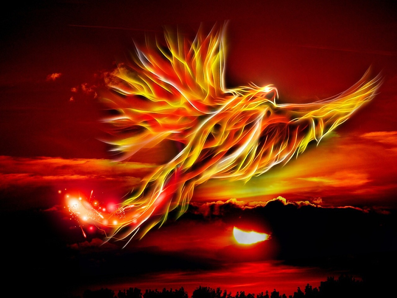 phoenix,bird,fire,sun,bright red,gold,mythical bird,garden of tarot,sky,clouds,wing,swing,mystical,fantastic,sunset,nature,landscape,ash,free pictures, free photos, free images, royalty free, free illustrations, public domain