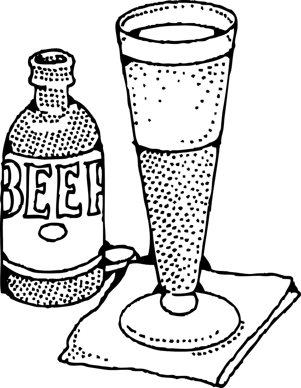 pilsner glass,beer,beer bottle,beer glass,beer glassware,pilsner,bottle of beer,lager,ale,stout,pint,free vector graphics,free pictures, free photos, free images, royalty free, free illustrations, public domain