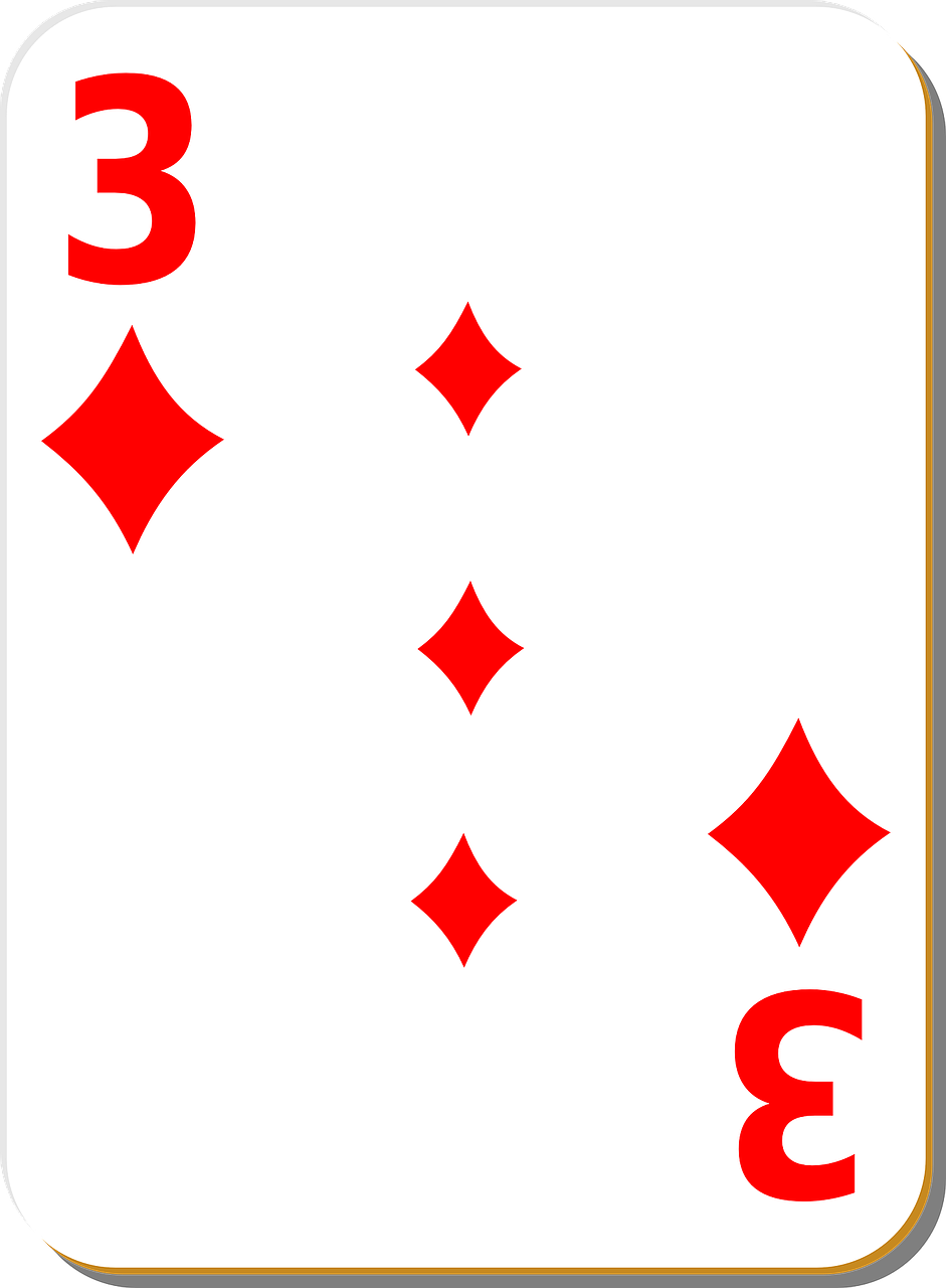 playing card,three,diamonds,game,playing,leisure,fun,gambling,poker,casino,luck,gamble,entertainment,play,betting,isolated,chance,risk,suit,free vector graphics,free pictures, free photos, free images, royalty free, free illustrations, public domain
