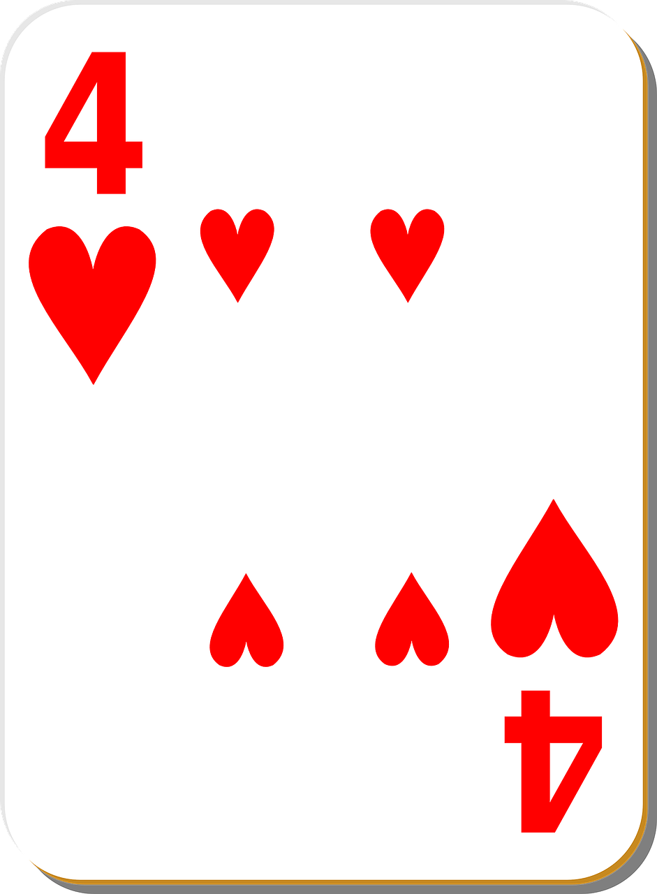 playing card four hearts free photo