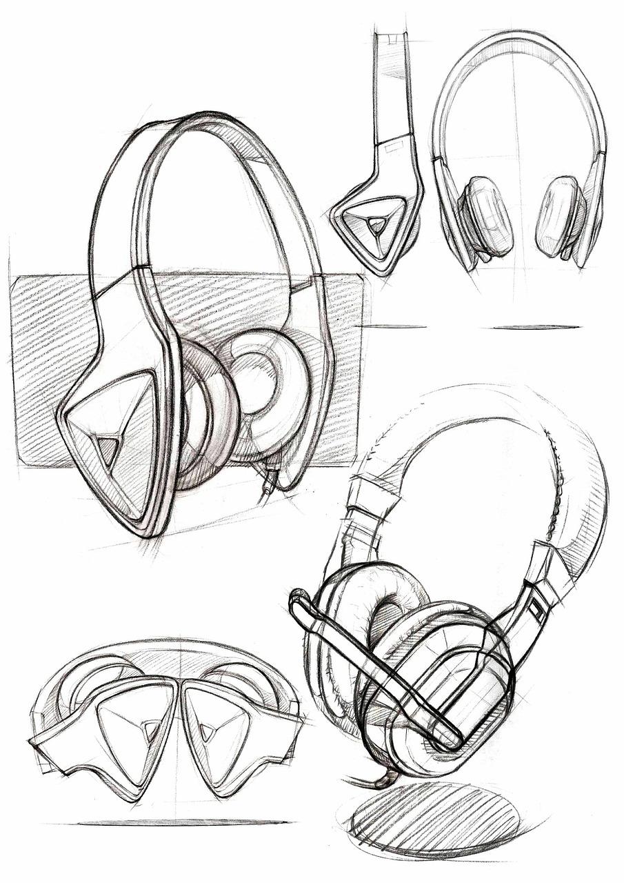 Portablehand paintedproductspencilpaintingsketchheadphones