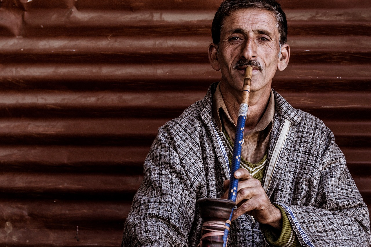 portrait man man smoking hookah free picture