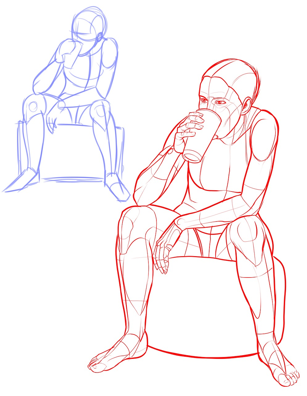 Pose reference,drinking,cup,sitting,female - free photo from