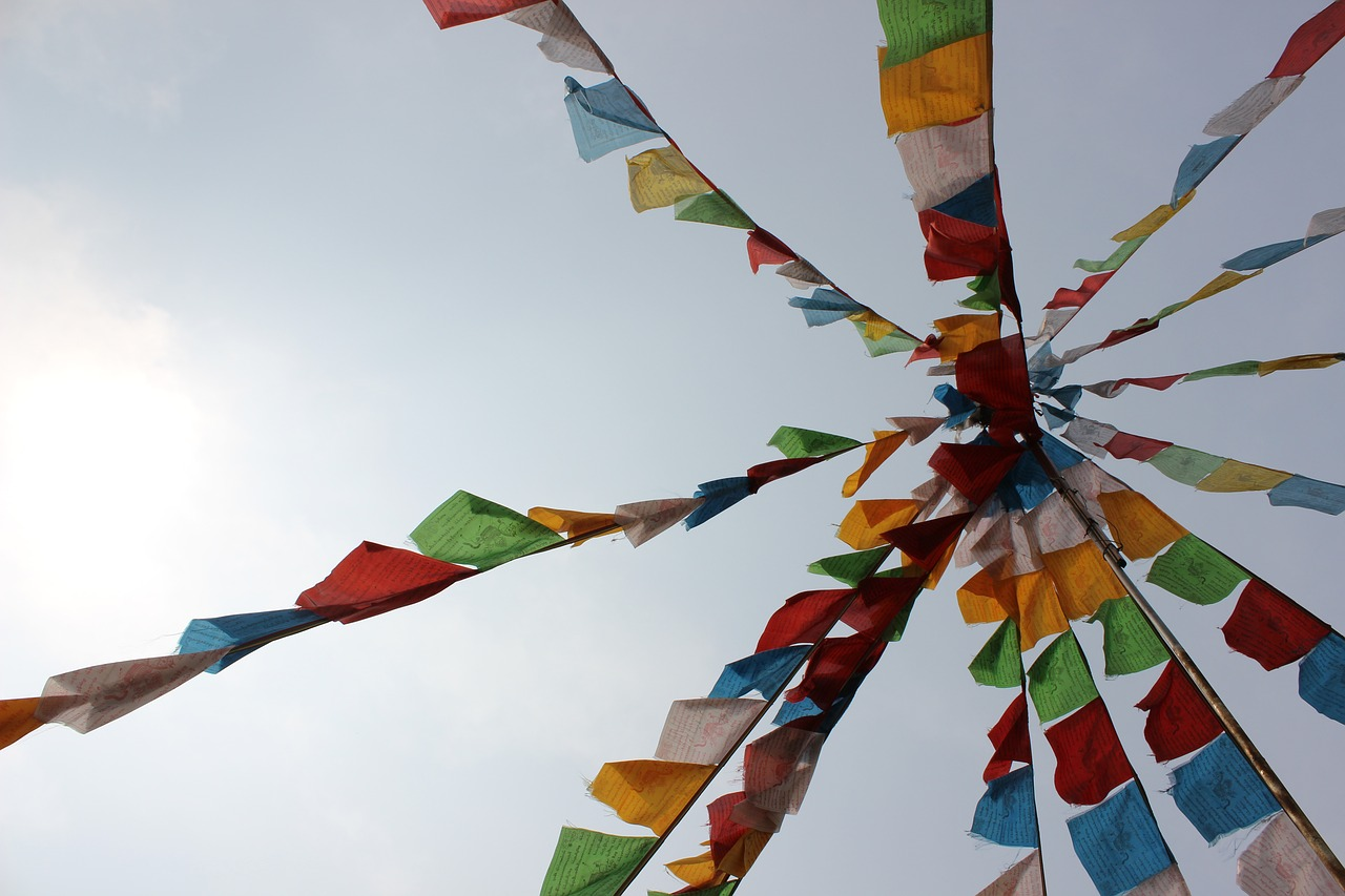 prayer flags colorful look up free photo