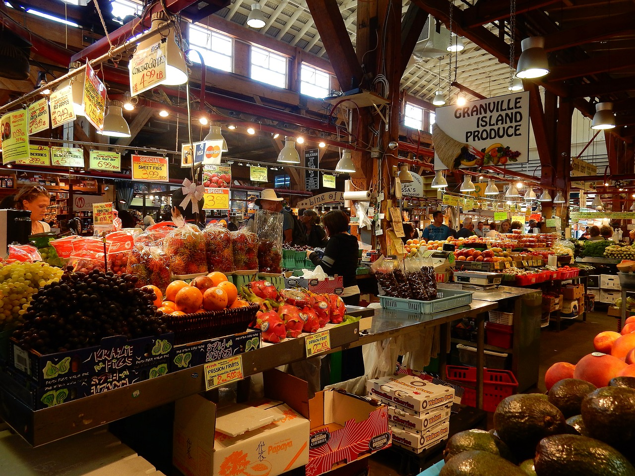 Public market,granville island,false creek,vancouver,british ...