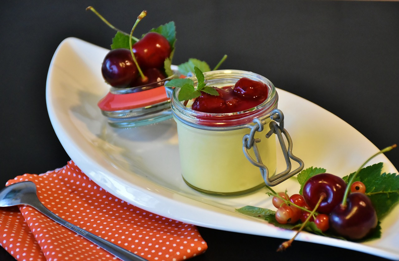 pudding vanilla pudding cherries free photo