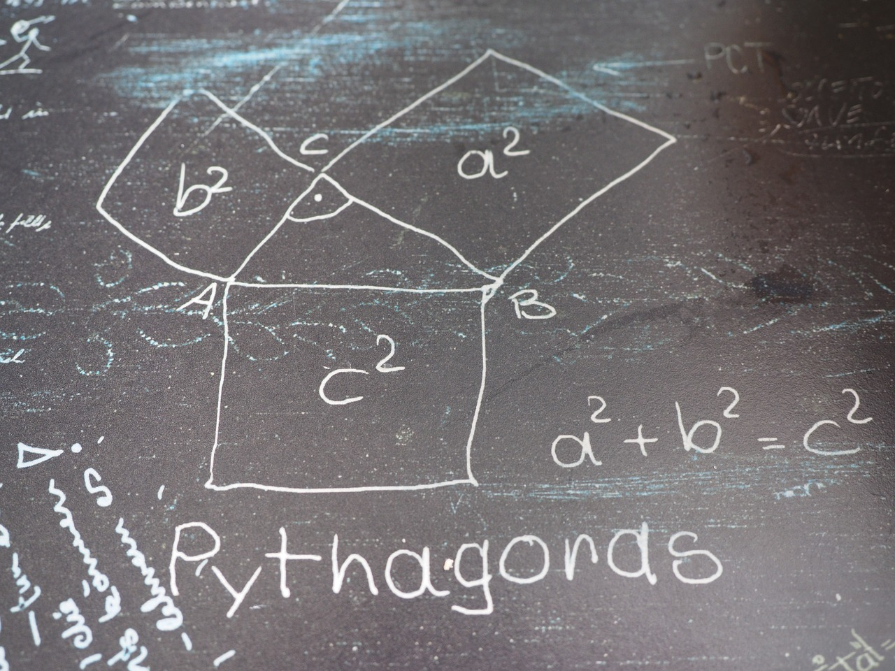 pythagoras,mathematics,formal,triangle,square root,at right angles,hypotenuse,equation,angle,graphic,square,geometry,learn,board,chalk,school,free pictures, free photos, free images, royalty free, free illustrations, public domain