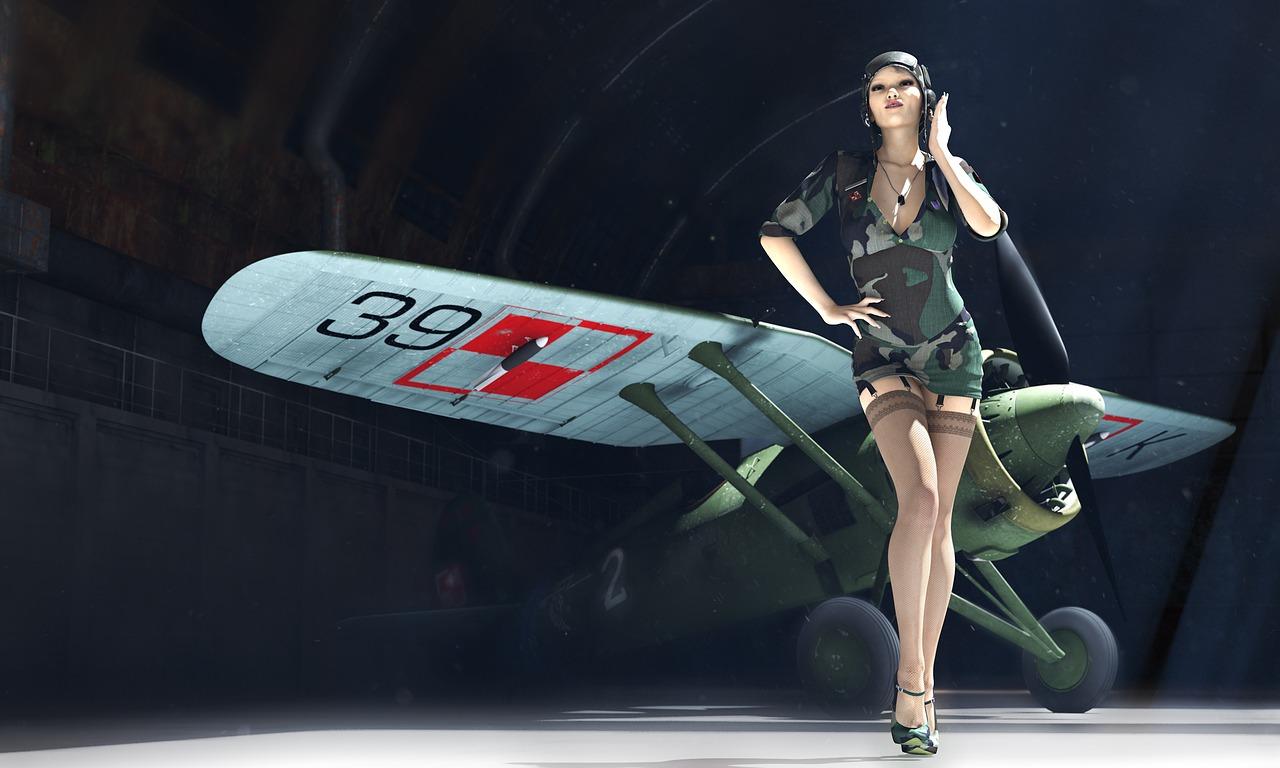 Pzl p11,pin-up,3d model,pilot,a woman pilot - free photo