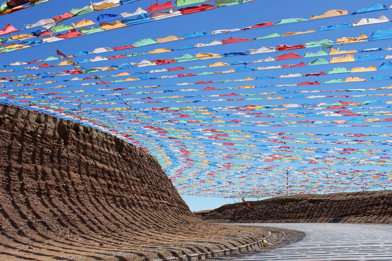 qinghai the scenery prayer flags free photo