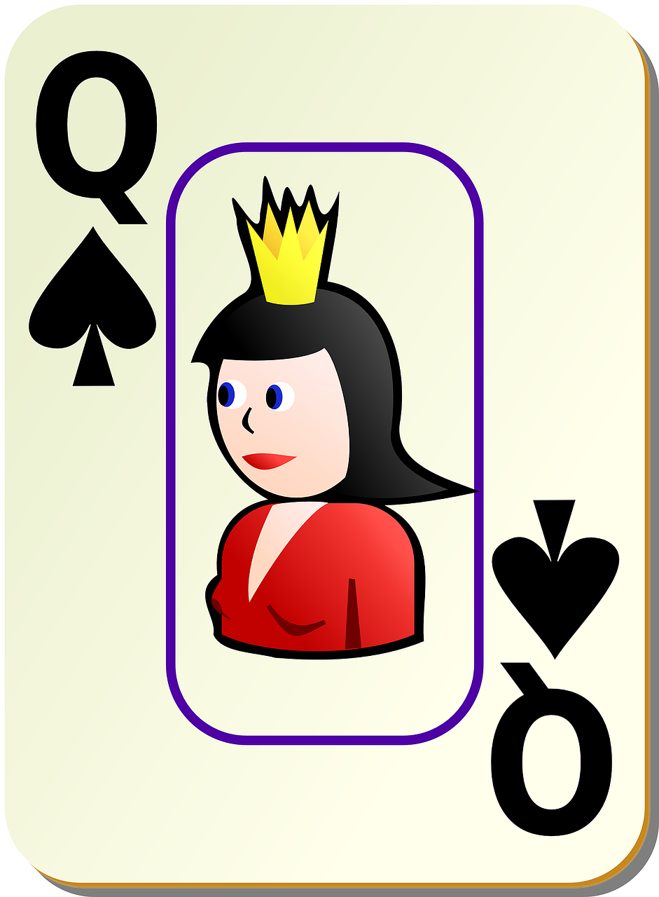 queen spades card free photo