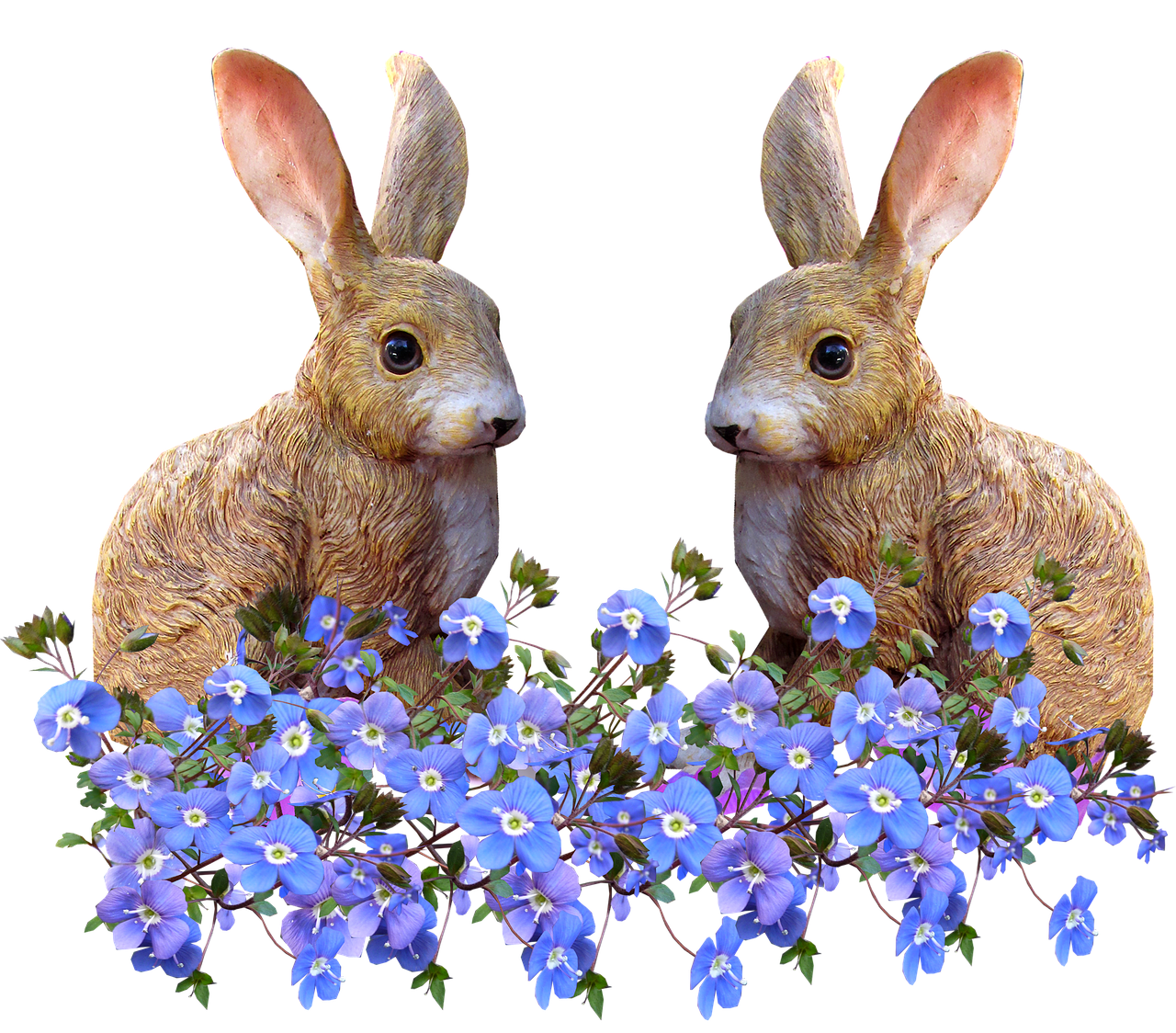 rabbits blue flowers cut out free photo