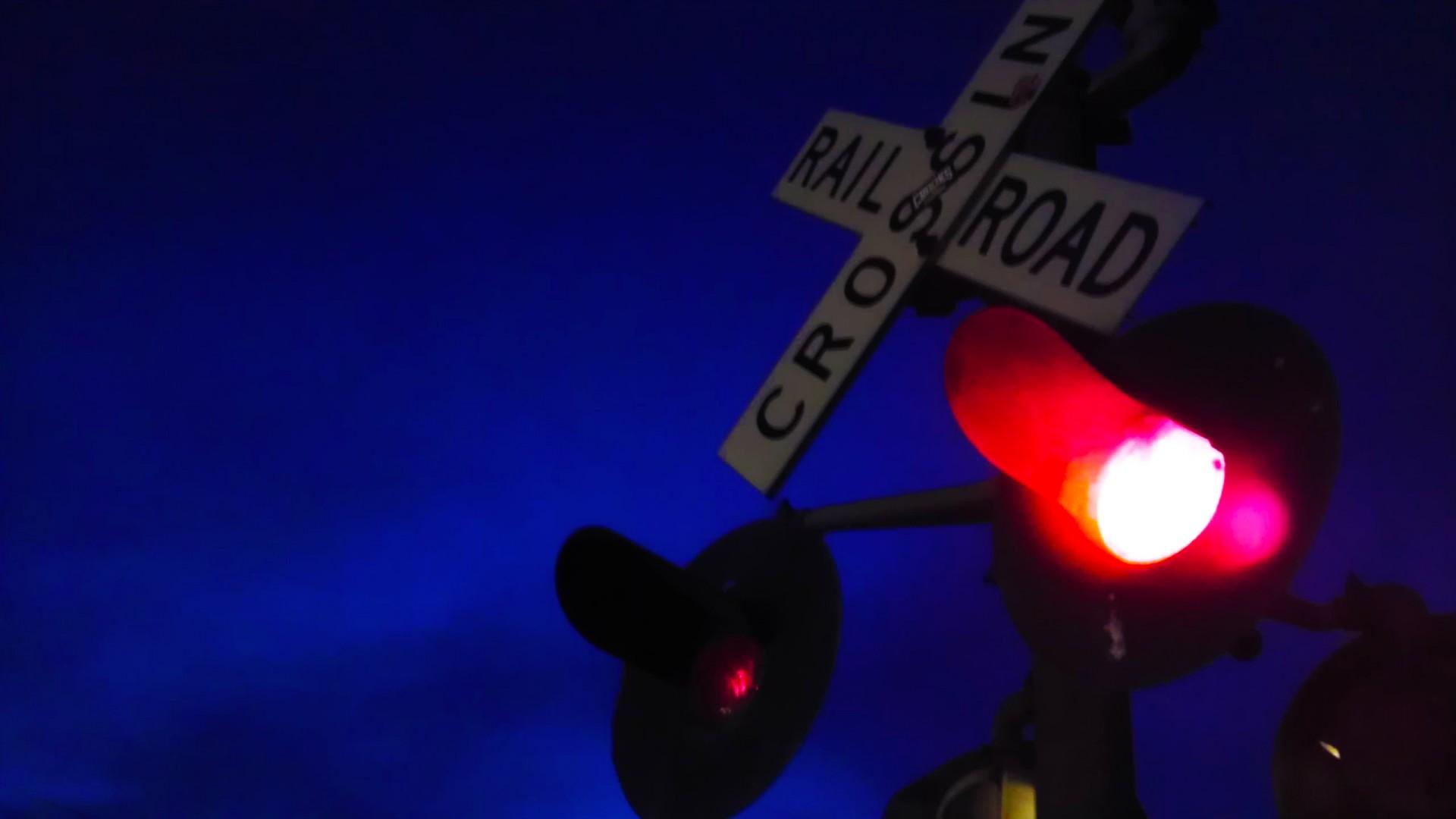 Night,railroad,lights,train,crossing - free photo from