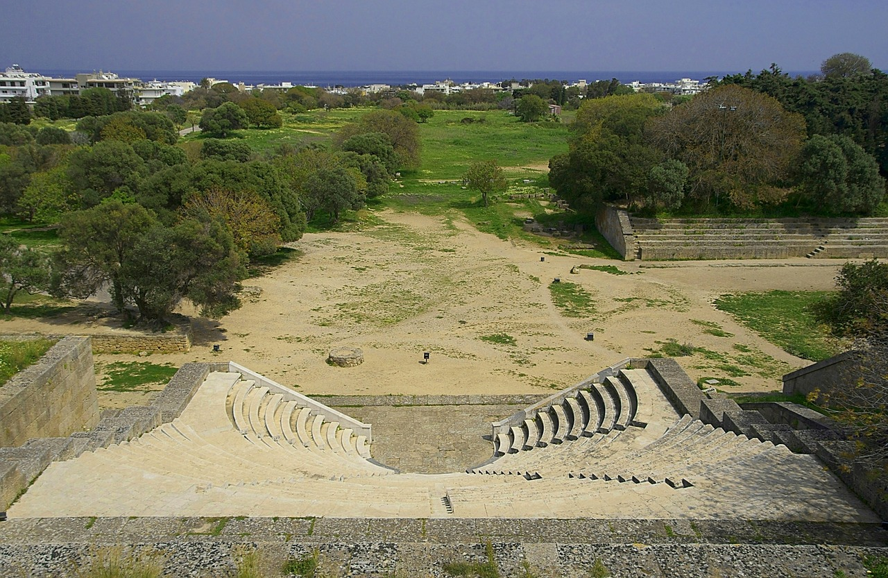rhodes greece theatre free photo