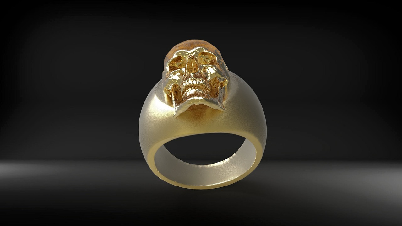 ring gold skull and crossbones free photo